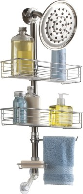 Interdesign Forma Bathroom Shower Caddy Station for Shampoo, Conditioner, Soap - Brushed Stainless Steel Steel Wall Shelf