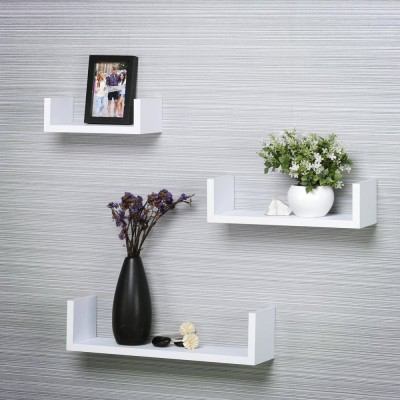 Custom Decor U Shape Wooden Wall Shelf(Number of Shelves - 3, White)