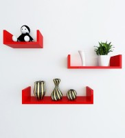 Artesia Wooden Wall Shelf(Number of Shelves - 3, Red)