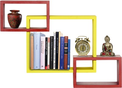 Furniselan interlocking Yellow & Red MDF Wall Shelf