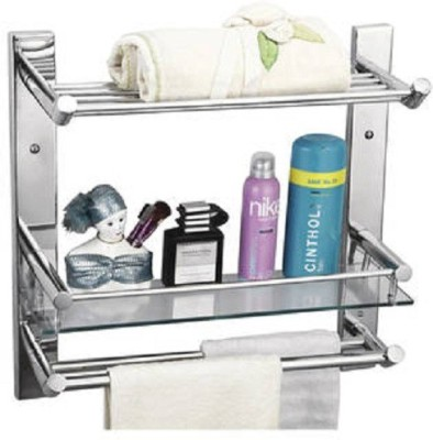 DEVICE IN LION GLASS SHELF WITH TOWEL RACK DOUNBLE TOWEL ROD Steel Wall Shelf