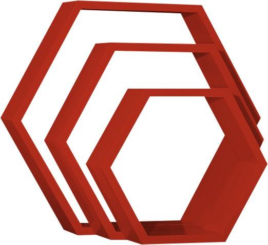 View Custom Decor Hexagon Wooden Wall Shelf(Number of Shelves - 3, Red) Furniture (Custom Decor)