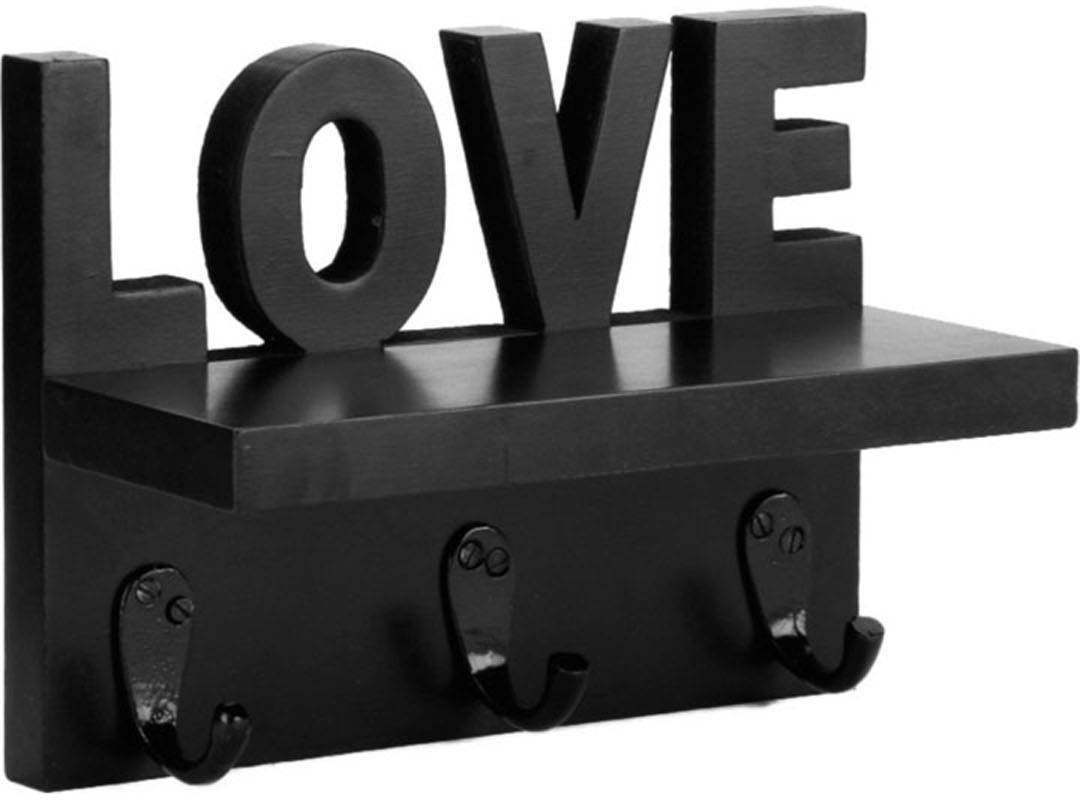 View Decorhand Love Key holder Wooden Wall Shelf(Number of Shelves - 1, Black) Furniture (Decorhand)