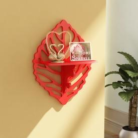 Home Sparkle Carved Shelf Wooden Wall Shelf(Number of Shelves - 1, Red)