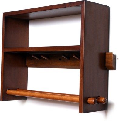 Curve Wooden Wall Shelf(Number of Shelves - 2, Brown)