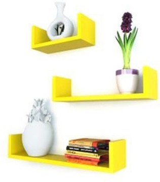 View craftpoint Wooden Wall Shelf(Number of Shelves - 3, Yellow) Furniture (Craftpoint)
