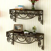 Home Sparkle Steel Wall Shelf(Number of Shelves - 2, Brown)