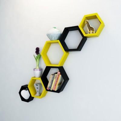 Ganeshaas Gphxd015yb Yellow N Black Beehive Hexagon Floating MDF Wall Shelf