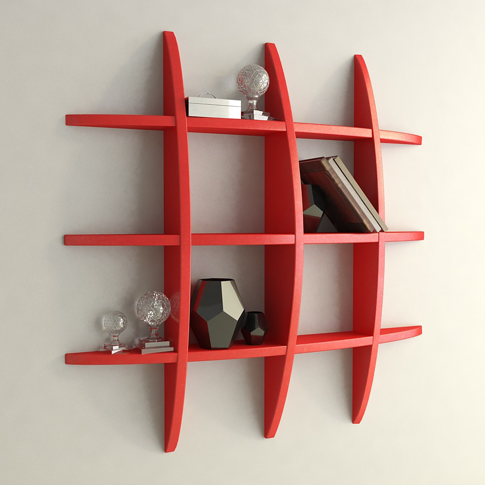 View DecorNation Globe Shape MDF Wall Shelf(Number of Shelves - 12, Red) Price Online(DecorNation)