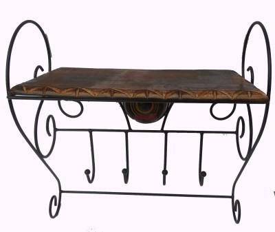 HANDICRAFT Wood & Iron Made Antique Rectangle Shape Wall Shelf Wooden, Iron Wall Shelf