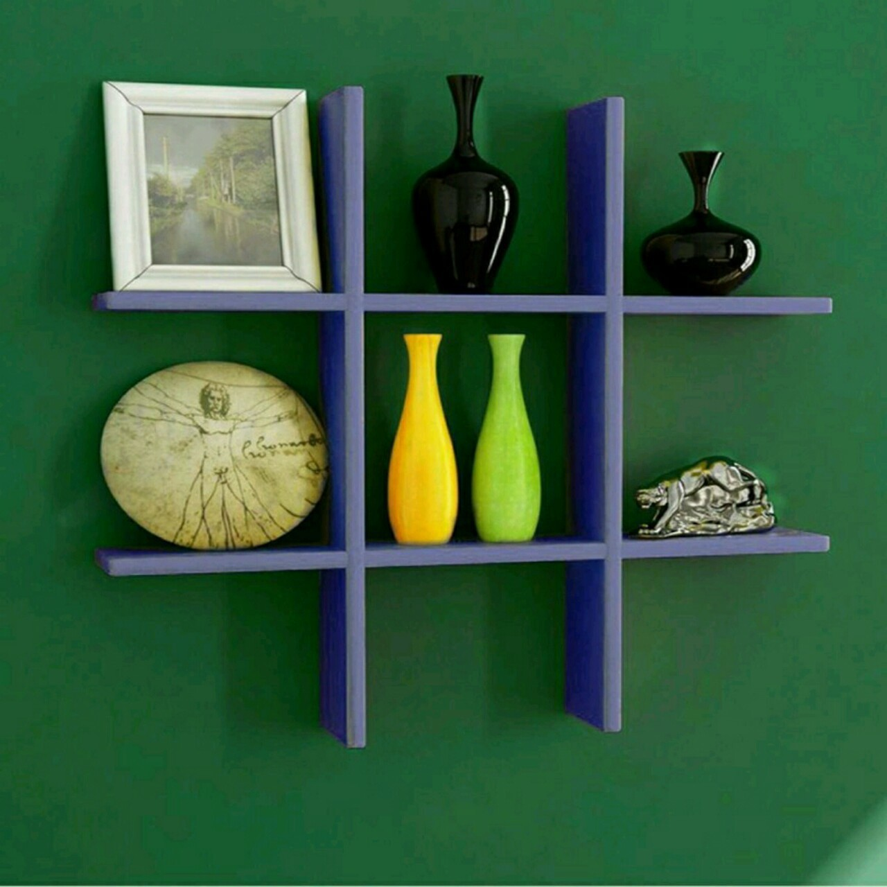 View Martcrown Hash Shaped Wooden Wall Shelf(Number of Shelves - 6, Purple) Furniture (Martcrown)