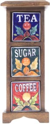 Fashion Craft Tea, Coffee, Sugar Wooden Wall Shelf