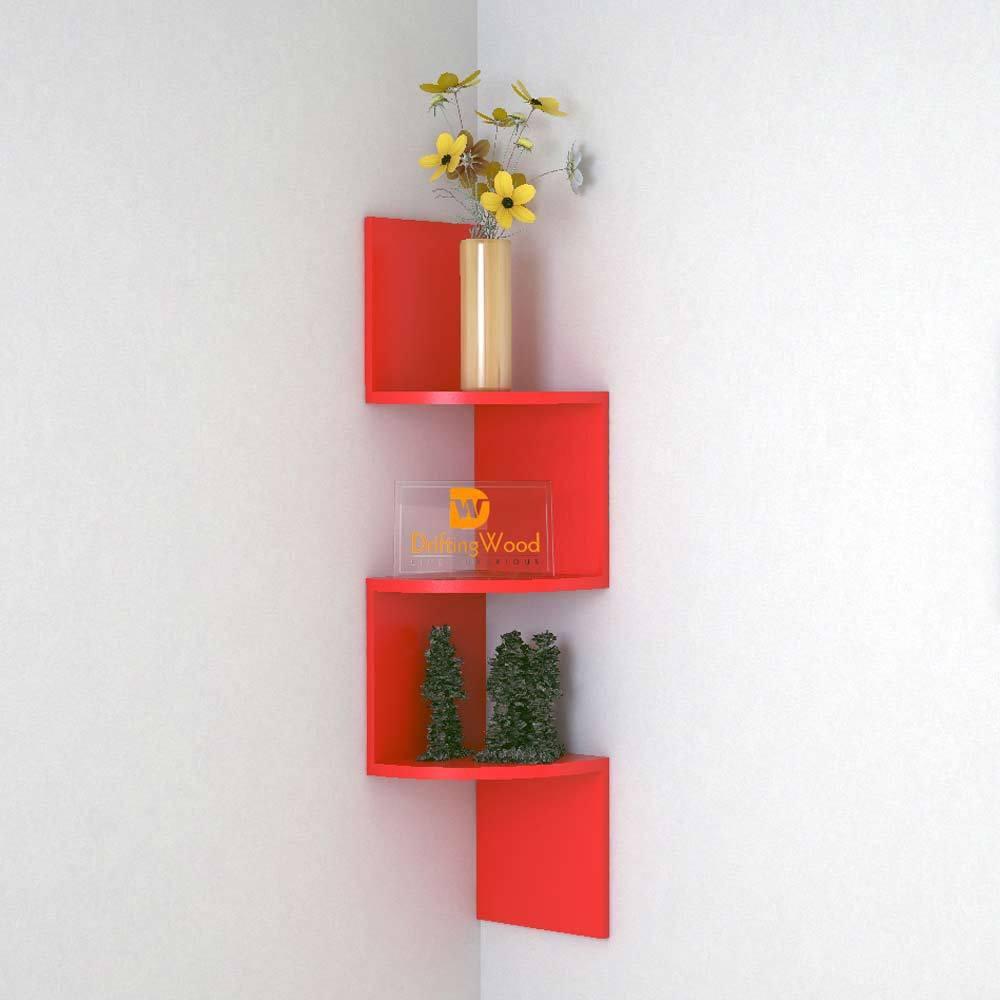 View DriftingWood Zigzag Shape Corner Wooden Wall Shelf(Number of Shelves - 3, Red) Furniture (DriftingWood)