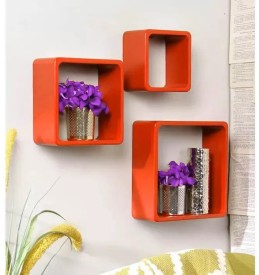 Onlineshoppee Handicraft Design MDF Wall Shelf(Number of Shelves - 3, Orange)