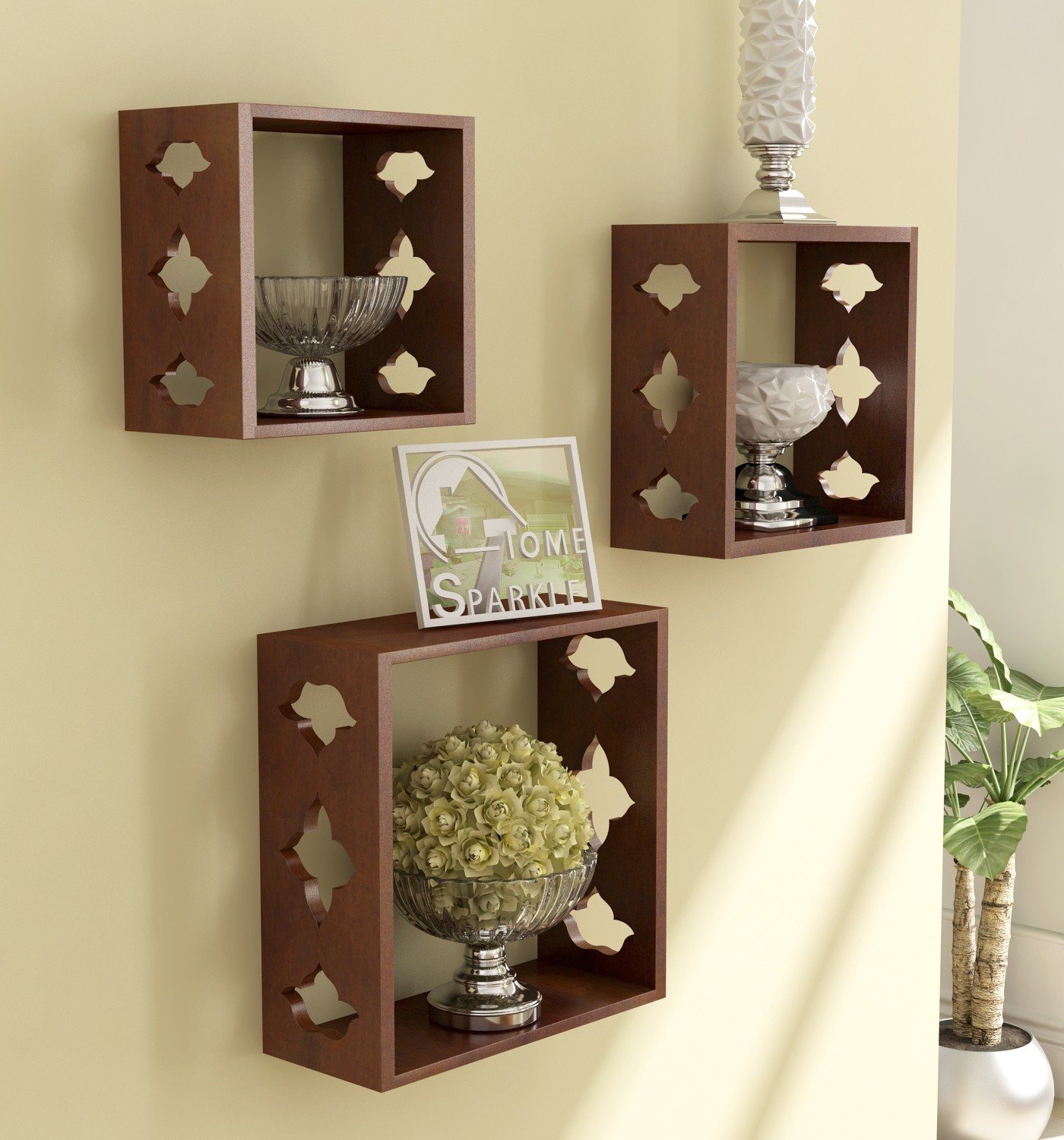 View Home Sparkle 3 Cube Shelves Wooden Wall Shelf(Number of Shelves - 3, Brown) Furniture (Home Sparkle)