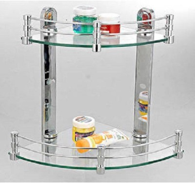 Cipla Plast Bathroom Elegant Corner Shelf Glass Wall Shelf