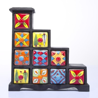 Khushal rajasthani art worked small Wooden Wall Shelf