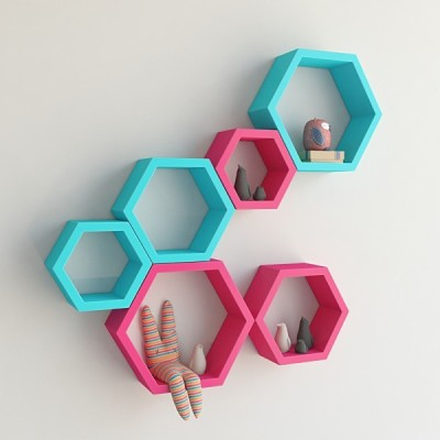 Ganeshaas Gphxd014pskb Pink N Blue Beehive Hexagon Floating MDF Wall Shelf
