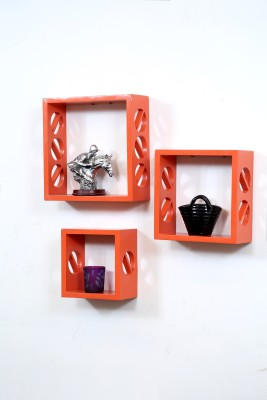 Importwala Orange 3 Circle wall shelves - Set of 3 MDF Wall Shelf
