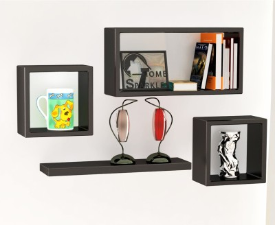 Home Sparkle Set of Cube Square Plain Wooden Wall Shelf(Number of Shelves - 4, Black)
