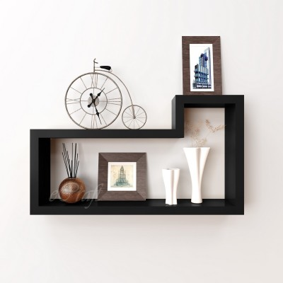 eCraftIndia Retro L Shape Block Multiutility Wooden Wall Shelf