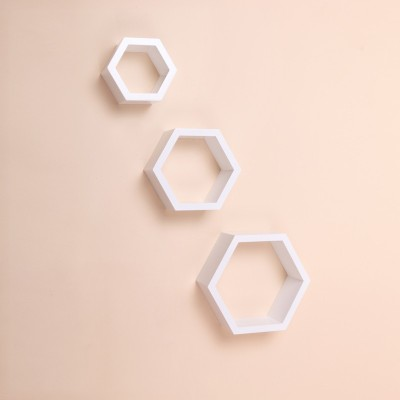 Ganeshaas Hexagon GPHXS003 White MDF Wall Shelf