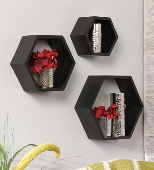 View fabolu cubel shelf MDF Wall Shelf(Number of Shelves - 3, Black) Furniture (fabolu)