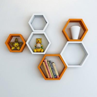 Ganeshaas Gphxd0012ow Orange N White Beehive Hexagon Floating MDF Wall Shelf