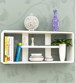Onlineshoppee multiple compartments Wooden Wall Shelf(Number of Shelves - 4, White)