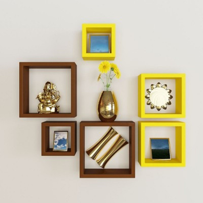 View Wallz Art Square MDF Wall Shelf(Number of Shelves - 6, Yellow) Furniture (Wallz Art)