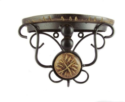 BKDT Marketing Beautiful Designer Showpiece Bracket Iron, Wooden Wall Shelf