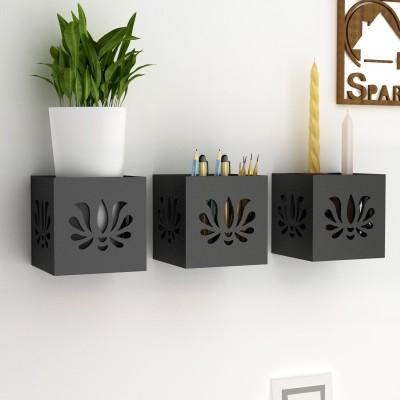 Home Sparkle Set Of 3 Hanging Tea Light Cum Organizer Wooden Wall Shelf