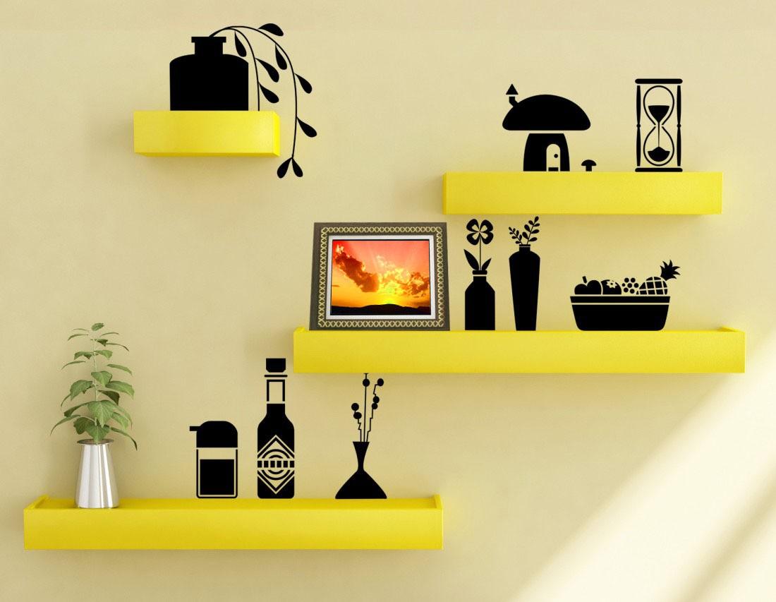 View Decorhand Wooden Wall Shelf(Number of Shelves - 4, Yellow) Furniture (Decorhand)