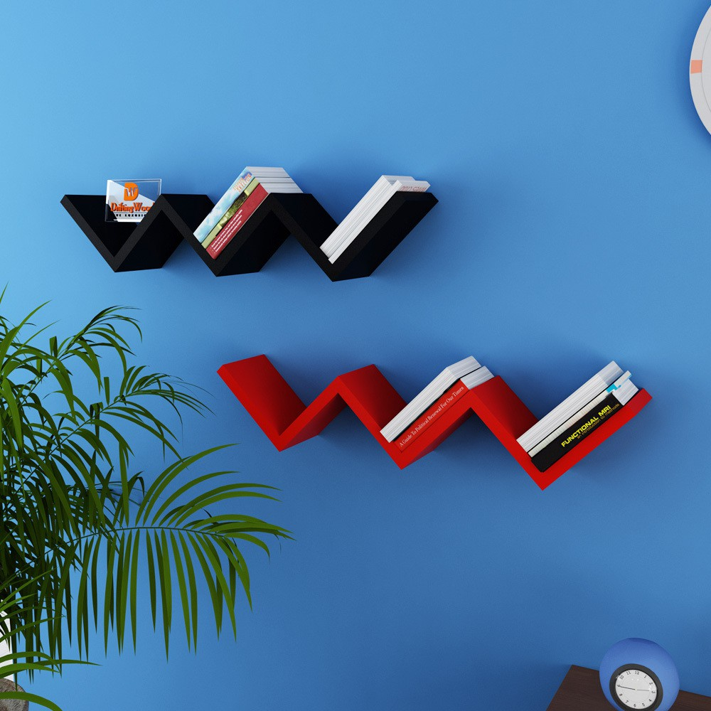 View DriftingWood W Shape Wooden Wall Shelf(Number of Shelves - 2, Red, Black) Furniture (DriftingWood)