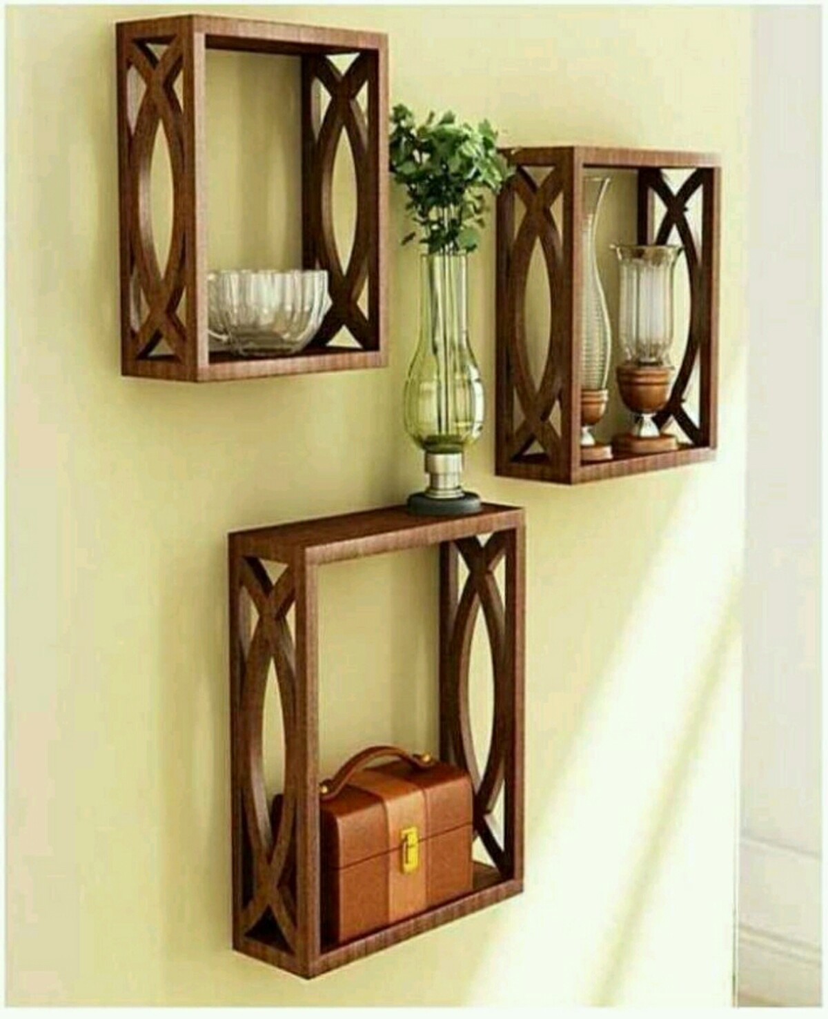 View OnlinePurchas Sqaure MDF Wall Shelf(Number of Shelves - 3, Brown) Furniture (OnlinePurchas)