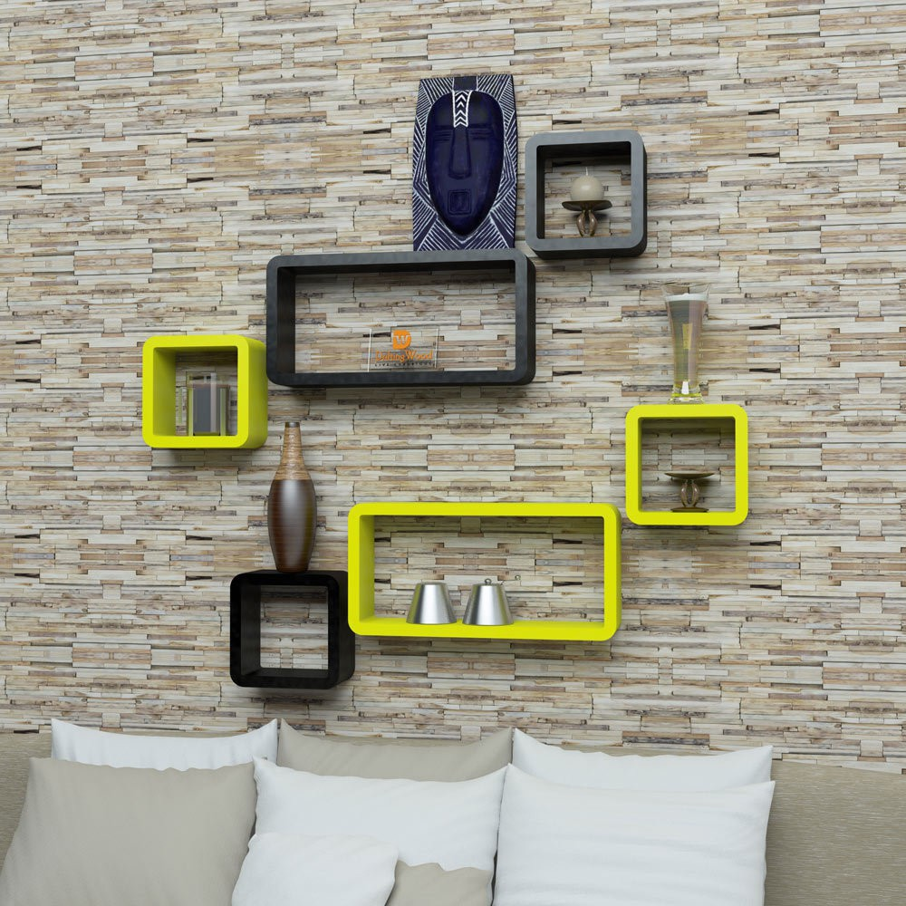 View DriftingWood Cube Rectangle Wooden Wall Shelf(Number of Shelves - 6, Yellow, Black) Furniture (DriftingWood)