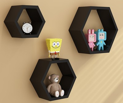 Custom Decor Hexagon Wooden Wall Shelf(Number of Shelves - 3, Black)