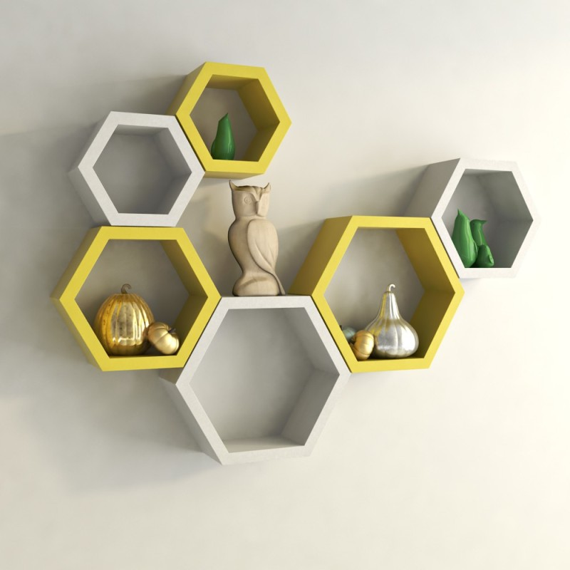 DecorNation Hexagon Shape MDF Wall Shelf(Number of Shelves - 6, Yellow, White)