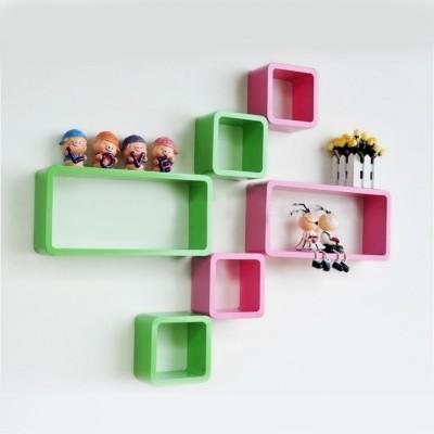 DecorNation Cube Rectangle Wooden Wall Shelf