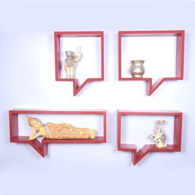 Dcjc Dcjc Dialouge Shelf Red - Set Of 4 MDF Wall Shelf