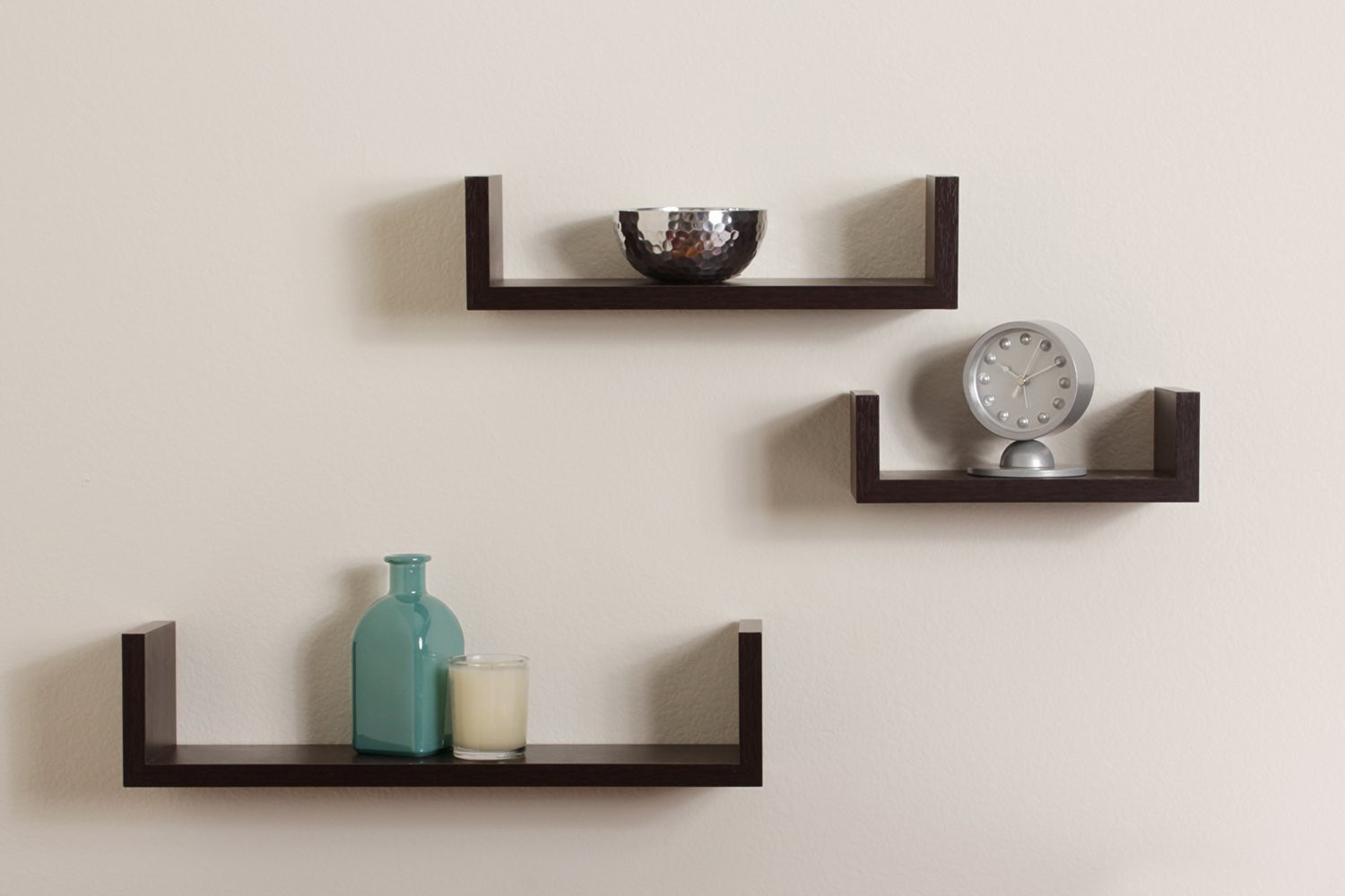 View Encore Decor U Shape MDF Wall Shelf(Number of Shelves - 3, Brown) Furniture (Encore Decor)