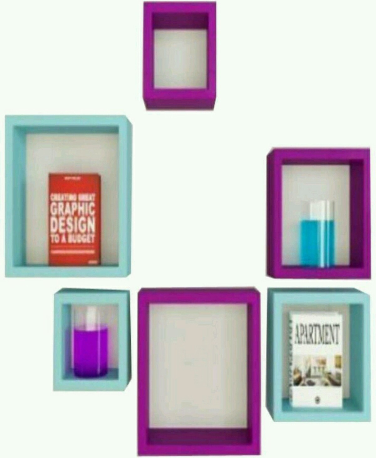 View OnlinePurchas Square Shape Wooden Wall Shelf(Number of Shelves - 6, Purple, Blue) Furniture (OnlinePurchas)