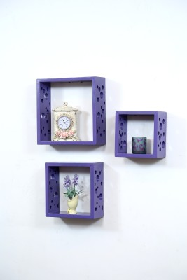 Importwala Purple Dots Wall Shelves- Set of 3 MDF Wall Shelf