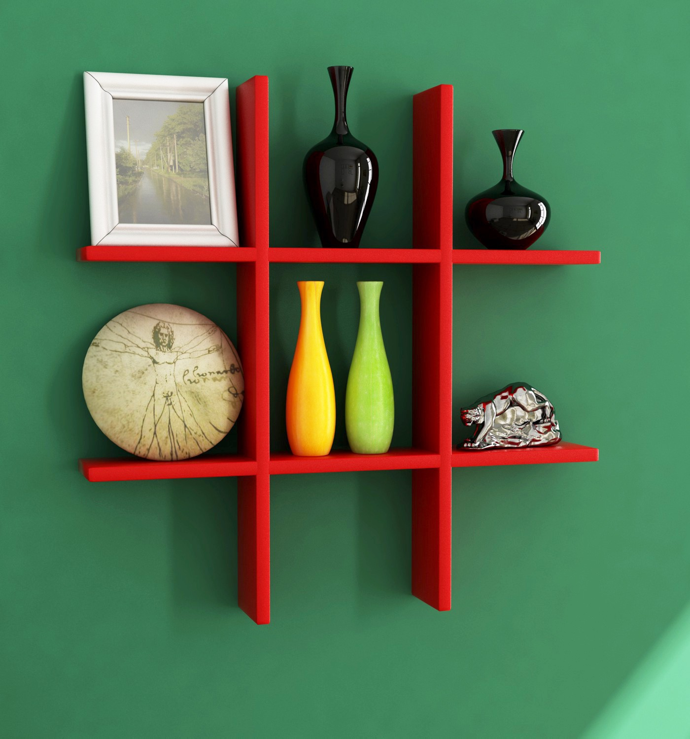 View Home Sparkle Plus Shaped MDF Wall Shelf(Number Of Shelves   6, Red