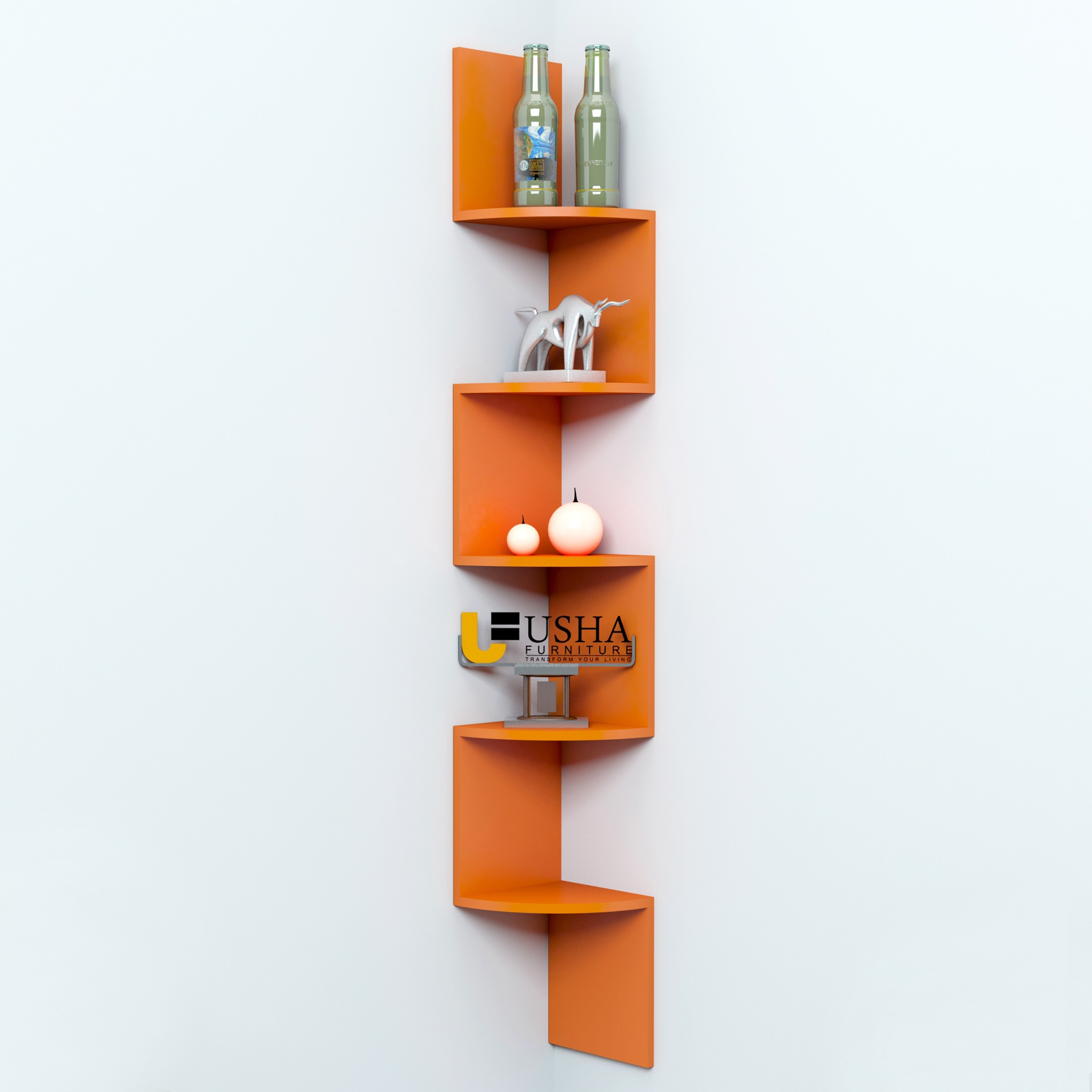 View Usha Furniture Corner Mount Wall Shelves Zigzag Shape Rack MDF Wall Shelf(Number of Shelves - 5, Orange) Furniture (Usha Furniture)