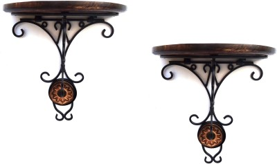 Woodpedlar double Wooden, Iron Wall Shelf
