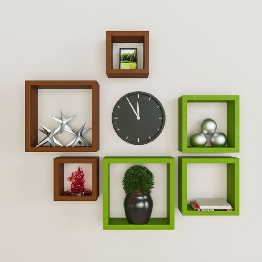 View Wallz Art Square MDF Wall Shelf(Number of Shelves - 6, Green) Furniture (Wallz Art)