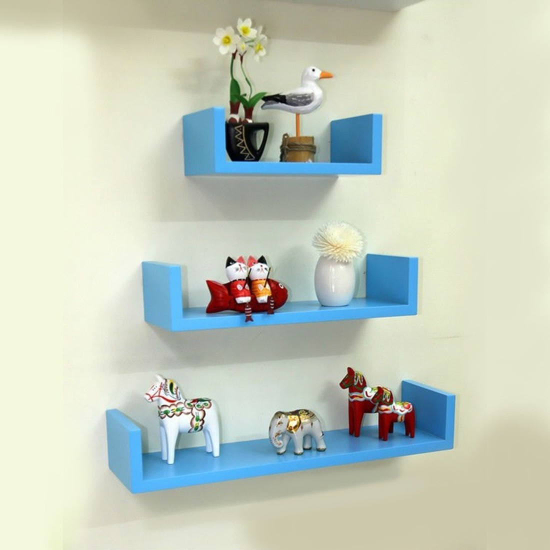 View Wallz Art U Shaped MDF Wall Shelf(Number of Shelves - 3, Blue) Furniture (Wallz Art)