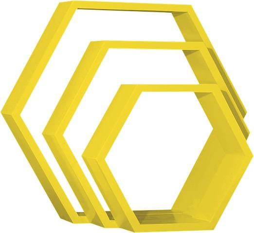View Custom Decor Hexagon Wooden Wall Shelf(Number of Shelves - 3, Yellow) Furniture (Custom Decor)