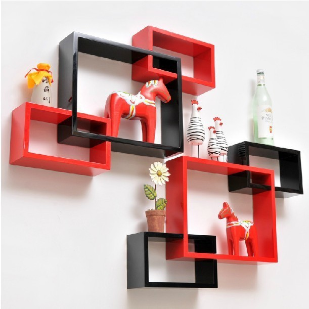 View Wallz Art Square MDF Wall Shelf(Number of Shelves - 3, Red) Furniture (Wallz Art)